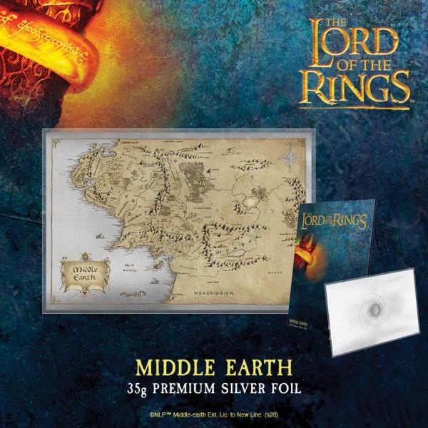 Herr der Ringe - Die Karte der Mittelerde in reinstem Silber
